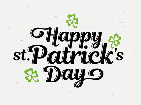 Happy Patrick�s Day hand drawn lettering design vector illustration. Lettering for party, poster, invitation, advertising, greeting card, bar, restaurant, menu.