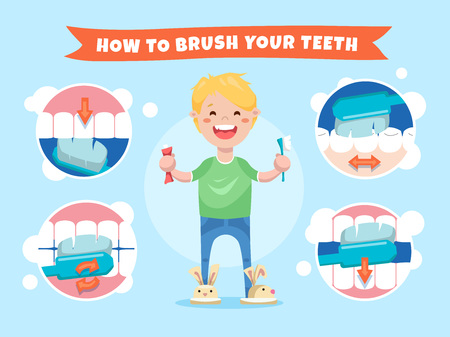 Glimlachende jongen die een tandenborstel en een tandpasta houdt. Hoe je tanden poetsen. Instructies voor kinderen met infographicselementen
