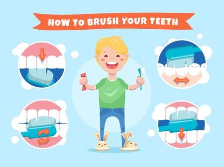 Lächelnder Junge, der eine Zahnbürste und eine Zahnpasta anhält. Wie man die Zähne putzt. Anweisungen für Kinder mit Infografiken Elemente
