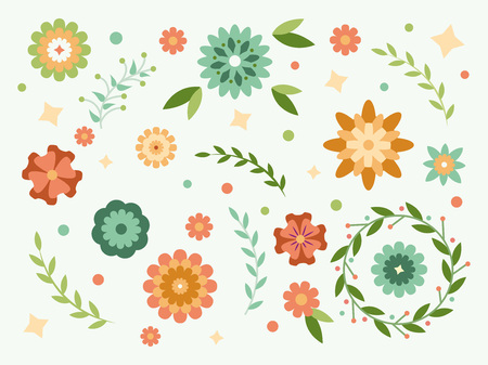 Spring flowers collection. Flowers for your design. Floral illustration in flat stale Illustration