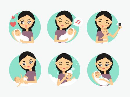 Baby care icons. Woman taking care of a newborn. How to care for the child illustration Illustration