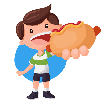 Boy holding and showing big hot-dog. Fast food vector illustration