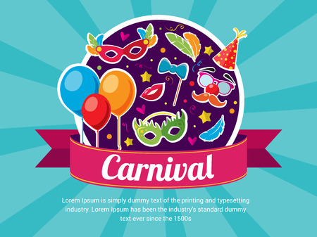 Happy Carnival Festive Concept with Baloons Mask Lips Hat Confetti Feathers. Place for your text message