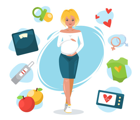 Smiling cute pregnant woman caressing her belly. Pregnant elements illustration