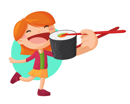 Young girl holding sushi roll with chopsticks and want to eat it. Asian food ector illustration