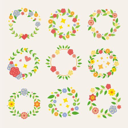 Flat pack of decorative floral wreaths ready for spring