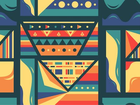 Tribal style seamless colorful pattern