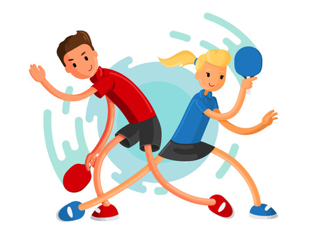 Table tennis players. Boy and girl playing ping-pong. Athletes vector illustration