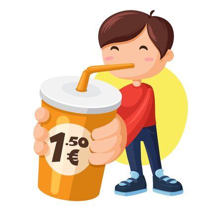 Boy drinking soda. Lemonade cups with price badge illustration