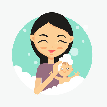 Happy mother washes her baby. How to take care of the child illustration