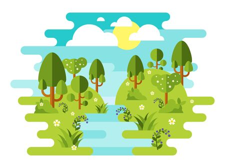 Spring landscape pattern with river trees flower, sky and sun in flat style