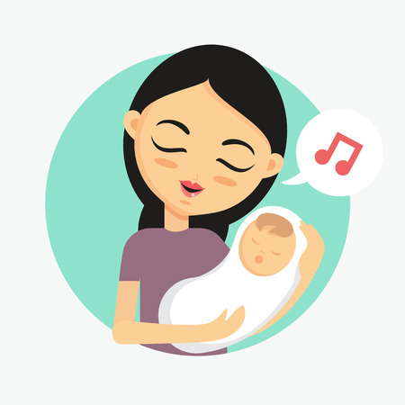 Mother holding her child and sings lullaby. How to take care of the child illustration Illustration