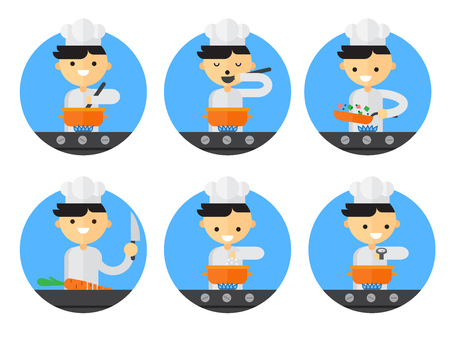 Cook steps. How to cook. Chef in the kitchen. Vector illustration in flat style