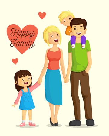 Happy cartoon family Illustration