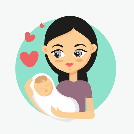 Mother holding her little baby. How to take care of the child illustration
