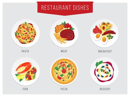 Food illustration. Restaurant dishes collections. Pasta, meat, fish, breakfast, desert icons for restaurant or cafe menu Illustration