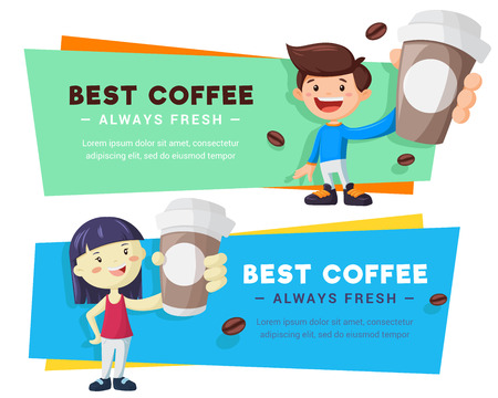 Bright coffee banners set with man and woman. Coffee to go bright vector illustration