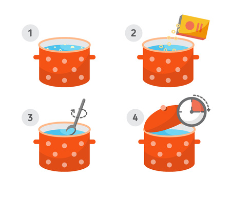 Steps how to cook. Vector illustration