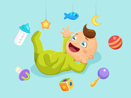 Cute baby with toys and elements. Vector illustration
