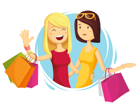 Happy fashion girl with shopping bags in shop. Shopper. Big Sales. Funny cartoon character. Vector illustration in flat style