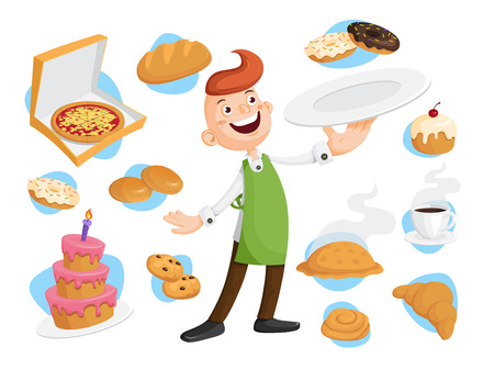 Baker with many kinds of baking. Fresh pizza, bread, bun, cake, donut, pie, biscuit, bagel, coffee. Vector illustration for poster, advertising, restaurant, menu