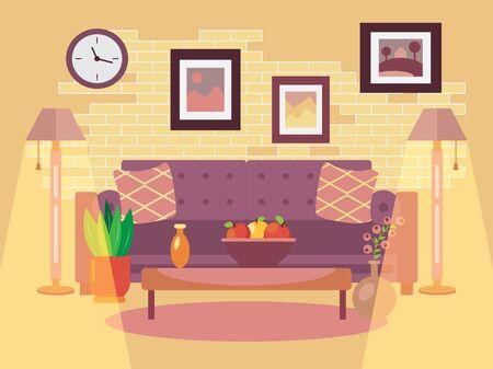 Interior of living room in flat design Illustration