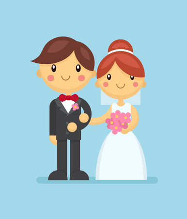 Wedding couple in flat style. Wedding ceremony vector illustration for invitation, poster, advertising, greeting card, bridal shower