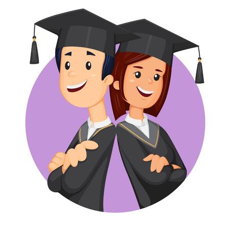 Happy students in graduation student cap. Smiling graduates vector illustration