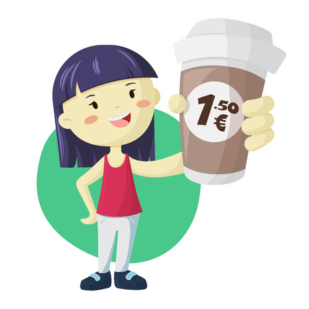 Young asian girl with big paper cups of coffee. Coffee to go illustration with price label