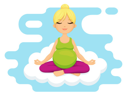 Yoga for pregnant women. Smiling pregnant woman meditating and relaxing on cloud Illustration