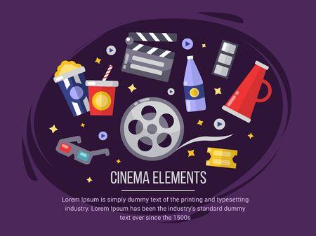 Cinema elements. Movie illustration for poster, ticket, invitation, party Illustration