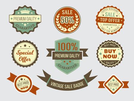 Sale and price vintage bage set Illustration