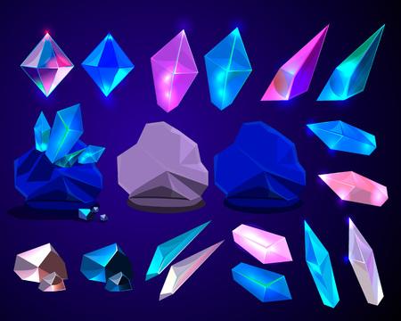 Vector set of fantasy cartoon crystals for design; pink and blue sparkle elements for icons set. Illustration