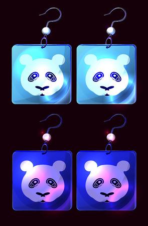 Ícones de brincos de desenhos animados do vetor isolados em preto; brincos de prata azul com personagens pandas; jóias de estilo japonês; Glow platinym adorno azul.
