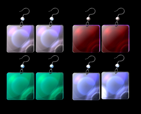 Conjunto de vetores de brincos de fantasia colorida dos desenhos animados; isolar brincos ícones; ícones de jogos; joia do vetor no fundo preto; polimento quadrado esmalte elementos decorativos para design; bela geometria. Foto de archivo - 90919989