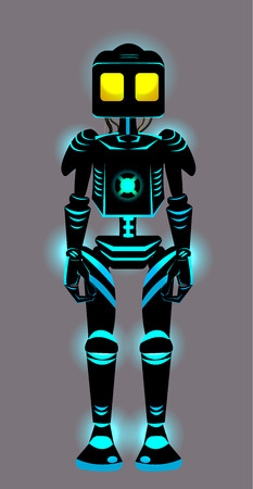 Vector cartoon toy robot with glow elements; futuristic design of anthropomorphic robot; black mechanical retro design robot on gray; isolated object; black and blue robot with cibic head and body.