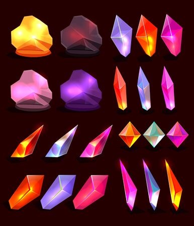 Raster copy Set of fantasy cartoon crystals for design. Half-transparent sparkle and glow elements foe fantasy game design. Stock Photo