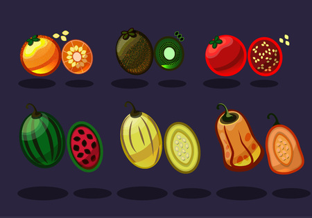 Cartoon style vegetables and fruits on blue background. Vector set of food icons illustration.