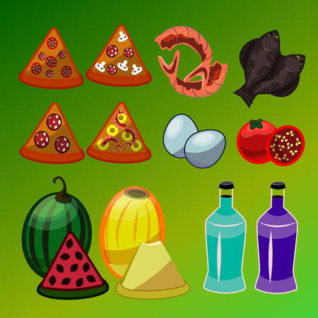 Vector set of food icons; isolated elements; shrimp, flounder, cherry tomato, different kind of pizza, eggs, melon, watermelon, two different colors bottle.