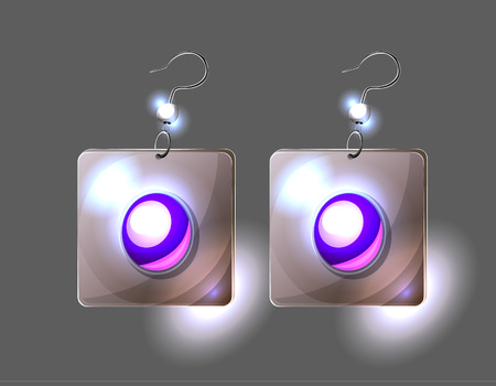 Vector illustration with silver earrings isolated on black; painted violet glass buttons rimed in white sparke metall; game interdace fachion element with purple pearls and silver beads; women jewelry