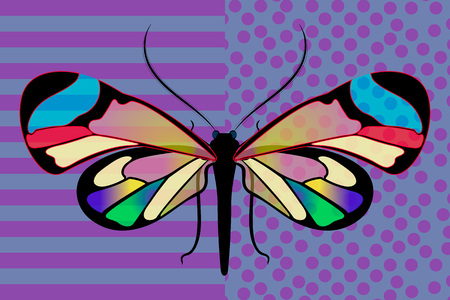Vector symmetric art of butterfly Greta Oto stained glass transparent wings colored in different shades of 