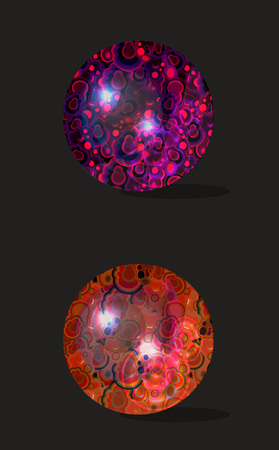 vector set of dichroic glass spheres with malachite texture; semiprecious polished elements for cards, banners, patterns; game design isolated on black cartoon blemished crystal balls; polish jasper