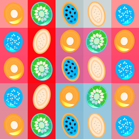 Futuristic background for cards, web, textile with unusual colors fruit slices