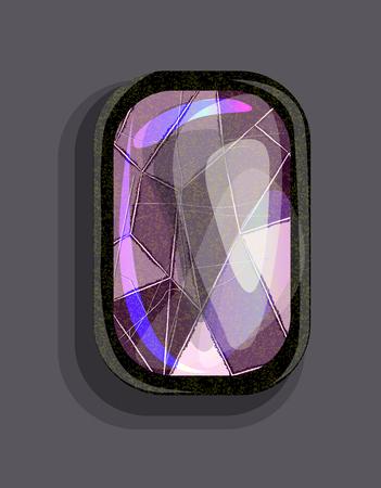 Isolated illustration with cartoon style bright purple precious stone