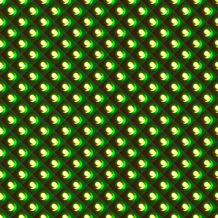 Vector seamless pattern with smooth polish green rhombs scale and warm orange round shiny lamps; seamless texture background