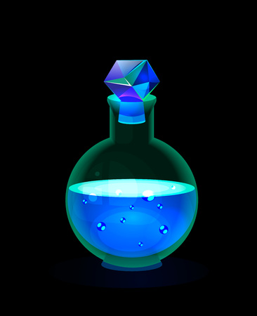 Isolated on black vector fantasy game icon; bright sparkle glow magic bottle with snow potion; blue glass charmed  bottle with ice cristal faceted transparent bung; collection game icon.