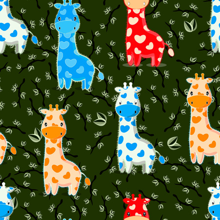 Pattern with baby giraffes characters on seamless leaves and branches background Illustration