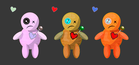 vector set of different colors cute cartoons rag voodoo dolls with pins in there heart; broken heart unrequited love illustaion; love spell card illustrations; magic isolated game icons; voodoo object