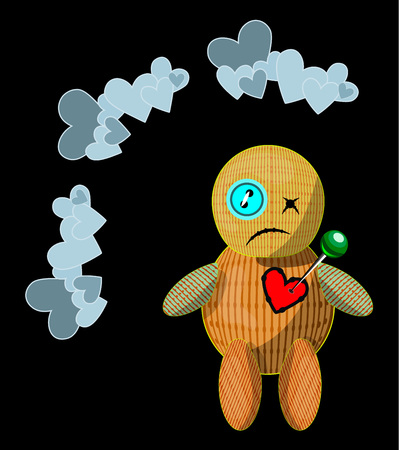 Vector isolated illustration with unhappy cartoon style voodoo doll;