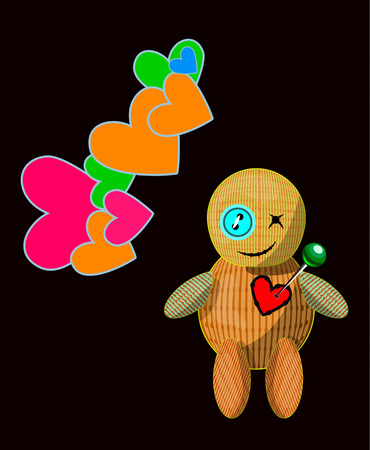 Vector illustration of little toy with a cute pin pierced rag heart  voodoo doll Illustration